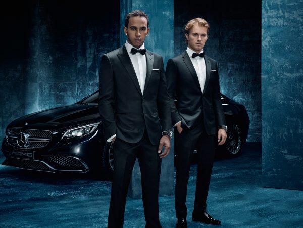 """Die führende Luxusmarke HUGO BOSS entwickelt Teamwear für MERCEDES AMG PETRONAS und wird """"Official Supplier"""" von Lifestyle-Bekleidung und Bekleidung für formelle Anlässe des Teams und den Fahrern Lewis Hamilton und Nico Rosberg."""